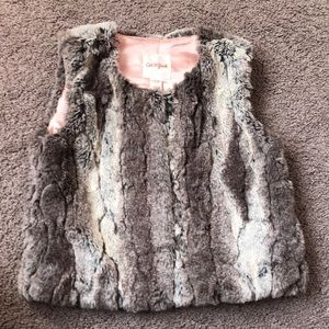 Faux fur gray vest